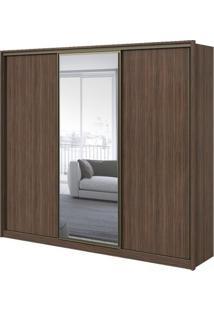 Guarda-Roupa Spazio Glass Com Espelho - 3 Portas - 100% Mdf - Imbuia Naturale Ou Imbuia Com Offwhite