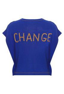 Camiseta Feminina Bordado Sami - Azul
