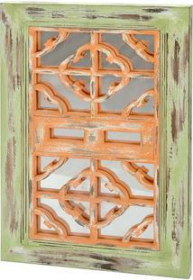 Espelho Para Ornamentação- Verde & Bege Escuro- 73X4Decor Glass