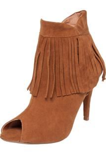Ankle Boot Dafiti Shoes Franjas Caramelo