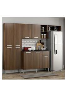 Cozinha Compacta Pequim 9 Portas Mp2933 Multimóveis Carvalho Avelá Marrom