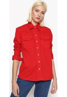 Camisa Lisa Com Recortes - Vermelhacalvin Klein