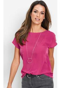 Blusa Básica Decote Redondo Rosa Pink