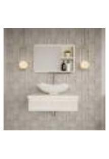 Conjunto Para Banheiro Bancada Com Cuba L42 Abaulada E Espelheira City 601 Snow