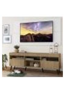 """Rack Com Painel E Suporte Tv 65"""" Londres Multimóveis Pés Retrô E 2 Portas Rustic/Branco/Preto"""