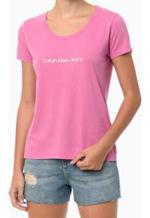 Blusa Feminina Básica Estampa Logo Rosa Calvin Klein Jeans - P