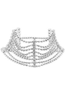 Area Embellished Multi-Chain Choker Necklace - Metálico