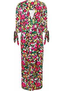 The Attico Vestido Midi Com Estampa Floral - Vermelho