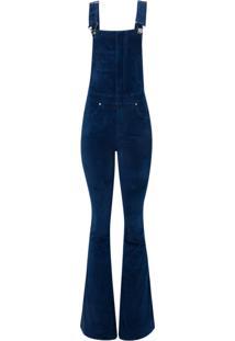 Macacão Bobô Kim Velvet Veludo Azul Marinho Feminino (Azul Marinho, 46)