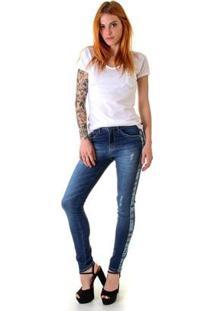 Calça Jeans Skinny Opera Rock Athleisure Feminina - Feminino-Azul
