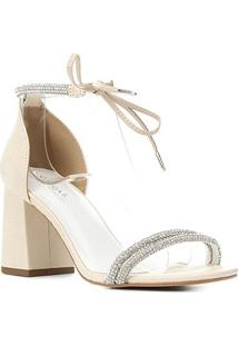 Sandália Couro Shoestock Bride Strass Tiras Feminina - Feminino-Off White