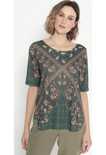 Blusa Em Flamê Floral- Verde & Marrom Claro- Cotton Cotton Colors Extra