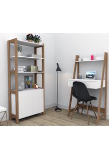Conjunto Home Office Trend Bliv Completo Com Armário E Escrivaninha 1 Gaveta - Branco E Castanho