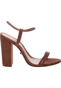 Sandália Salto Bloco Strings Dark Peach | Schutz
