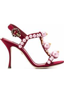 Dolce & Gabbana Sandália Com Salto 105Mm - Vermelho