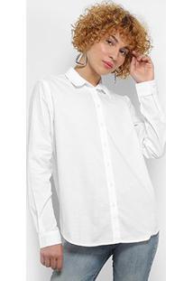 Camisa Colcci Manga Longa Básica Feminina - Feminino-Branco