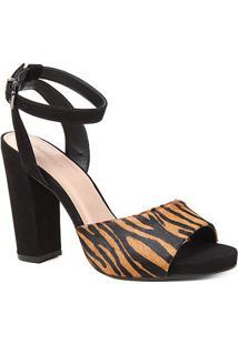 Sandália Couro Meia Pata Shoestock Pelo Zebra Salto Alto Feminina
