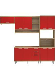 Cozinha Compacta Multimóveis Sicília 5828.132.694 Argila Vermelho Se