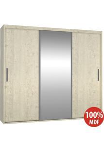 Guarda Roupa 3 Portas Com 1 Espelho 100% Mdf 1979E1 Marfim Areia - Foscarini