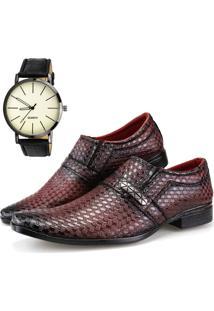 Sapato Social Neway Vermelho Escuro Relógio