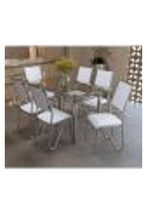 Conjunto Mesa Elba De Vidro Com 6 Cadeiras Londres Kappesberg Cromado/Branco
