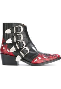 Toga Pulla Ankle Boot De Couro Com Fivela - Preto
