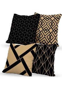 Kit 4 Capas De Almofadas Decorativas Own Geométricas Black 45X45 - Somente Capa