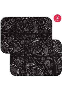 Jogo Americano Love Decor Pizza Preto