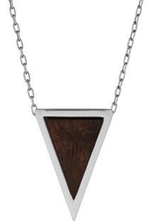 Pingente Wooden Design Triangular Pequeno Em Prata 925 - Madeira E Prata