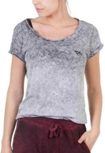 Camiseta Slim Brohood Marmorizada Feminina - Feminino-Cinza