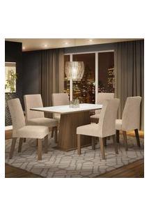 Conjunto Sala De Jantar Madesa Luciana Mesa Tampo De Madeira Com 6 Cadeiras - Rustic/Branco/Imperial Marrom