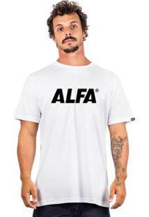 Camiseta Alfa Logo 2 - Masculino-Branco