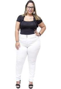 Calça Jeans Credencial Plus Size Skinny Hallesa Feminina - Feminino-Branco