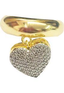 Anel Pingente De Coracao Semijoia Banho De Ouro 18K Com Cravacao Em Zirconia E Detalhe Em Rodio - Feminino-Dourado