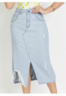 Saia Jeans Com Fenda Moda Evangélica