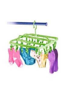 Mini Varal Com 26 Prendedores Plástico Verde Secalux