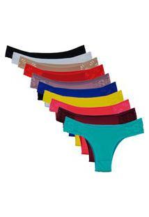 Calcinhas Em Microfibra Kit Com 10 Unidades Lingerie Ref:352 Multicolorido