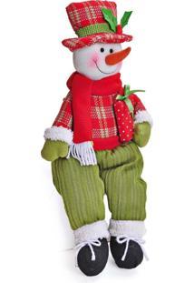Enfeite Boneco De Neve Decoração Natal Vermelho