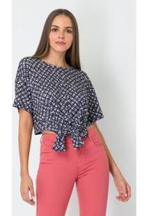 Camiseta Com Amarração Lança Perfume Feminina - Feminino-Cinza