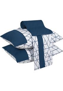 Jogo De Cama King 04 Peças Geometric White - Lynel - Branco / Azul