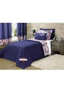 edbcf545da Kit Edredom Solteiro Completo Com Cortina 07 Peças London Azul Marinho -  Casaborda Enxovais