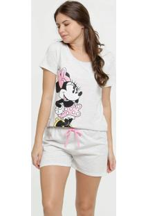 Pijama Feminino Estampa Minnie Metalizado Disney