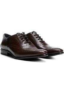 Sapato Social Couro Walkabout Brogue Vecchio Masculino - Masculino-Bordô