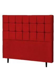 Cabeceira Casal Queen Parma 160Cm Para Cama Box Suede Vermelho - Ds Móveis