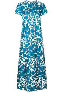 La Doublej Vestido De Seda Com Estampado Floral - Azul