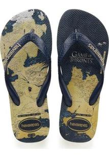 Chinelo Havaianas Game Of Thrones Masculino - Masculino-Marinho+Bege