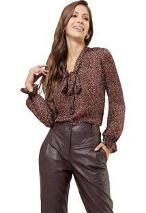 Blusa Mx Fashion Estampada Com Amarração Mariana Marrom