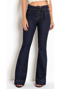 Calça Sawary Flare Jeans Escuro Com Cinto