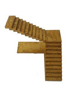 Escada Decorativa Em Madeira Dourado 20Cm