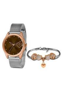 Kit Relógio Feminino Lince Analógico Prata - Lrt4673L-Kn06M1S Prata